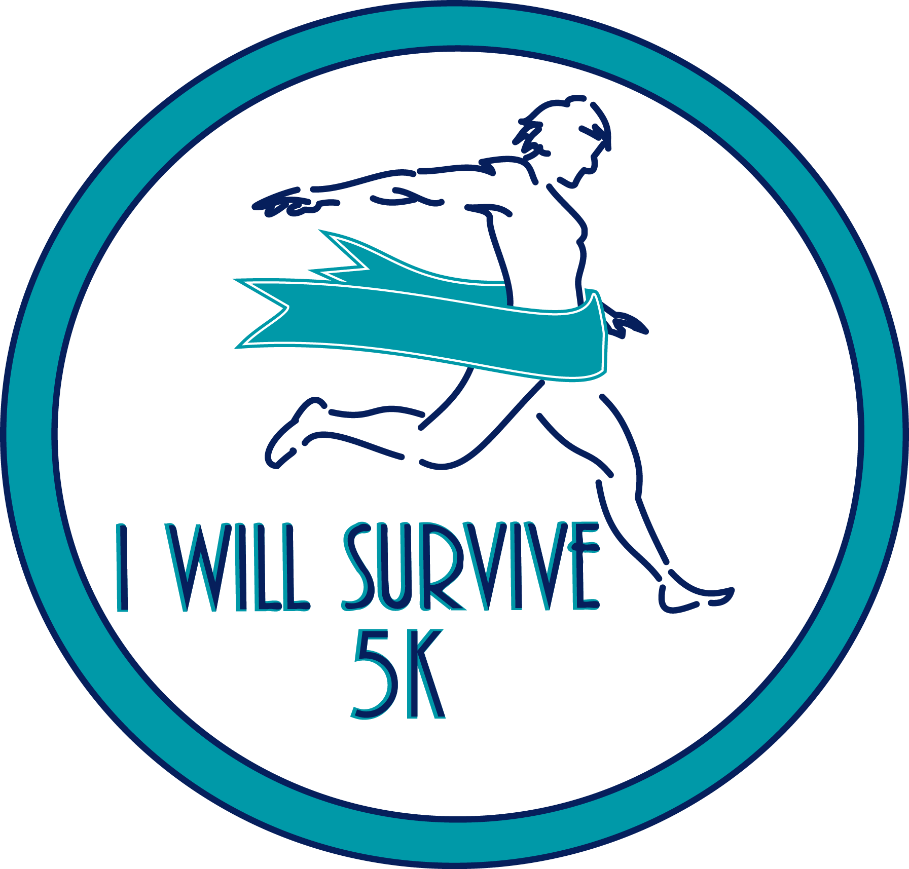 i will survive circle 5k logo color Sans Year